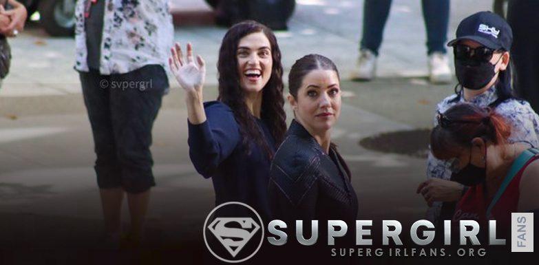 Fotos + Vídeos del cast de Supergirl en el set
